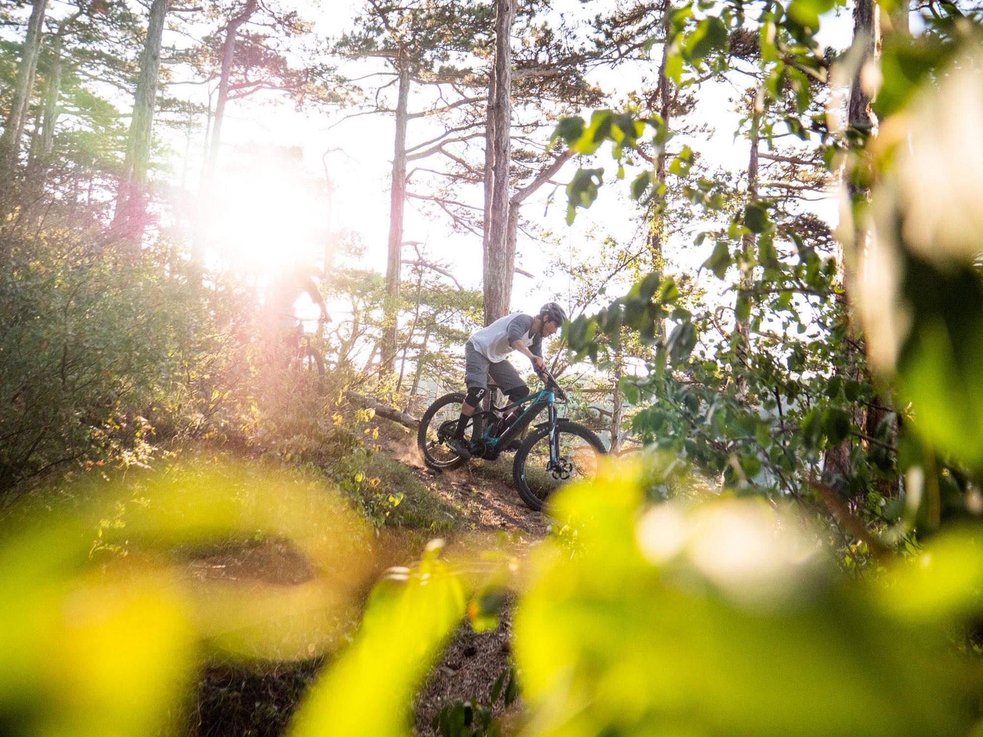 Dominik Raab fährt mit seinem Merida Bike auf den Wegen in Mödling